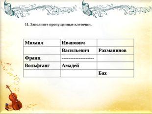 11. Заполните пропущенные клеточки. Михаил Иванович Васильевич Рахманинов Фра