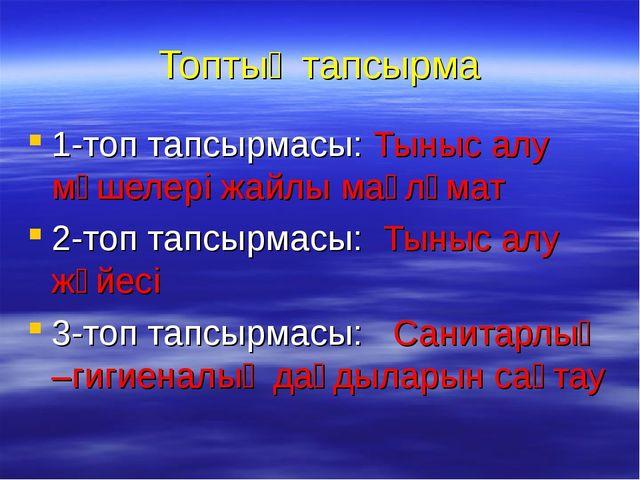 Топтық тапсырма 1-топ тапсырмасы: Тыныс алу мүшелері жайлы мағлұмат 2-топ тап...