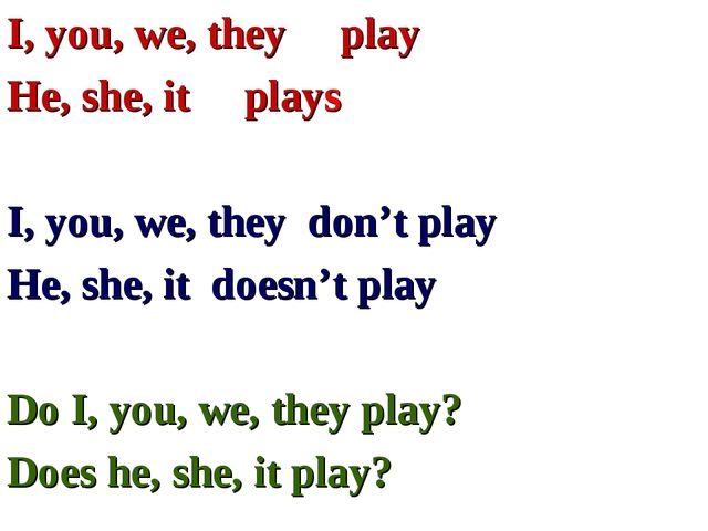 I, you, we, they play He, she, it plays I, you, we, they don't play He, she,...