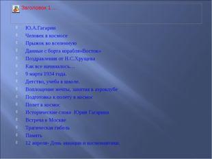 Ю.А.Гагарин Человек в космосе Прыжок во вселенную Данные с борта корабля»Вост
