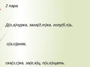 2 пара Д(о,а)чурка, зага(д,т)ка, голу(б,п)ь, с(а,о)рняк, ска(з,с)ка, за(е,я)ц