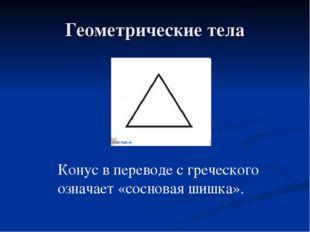 Геометрические тела Конус в переводе с греческого означает «сосновая шишка».