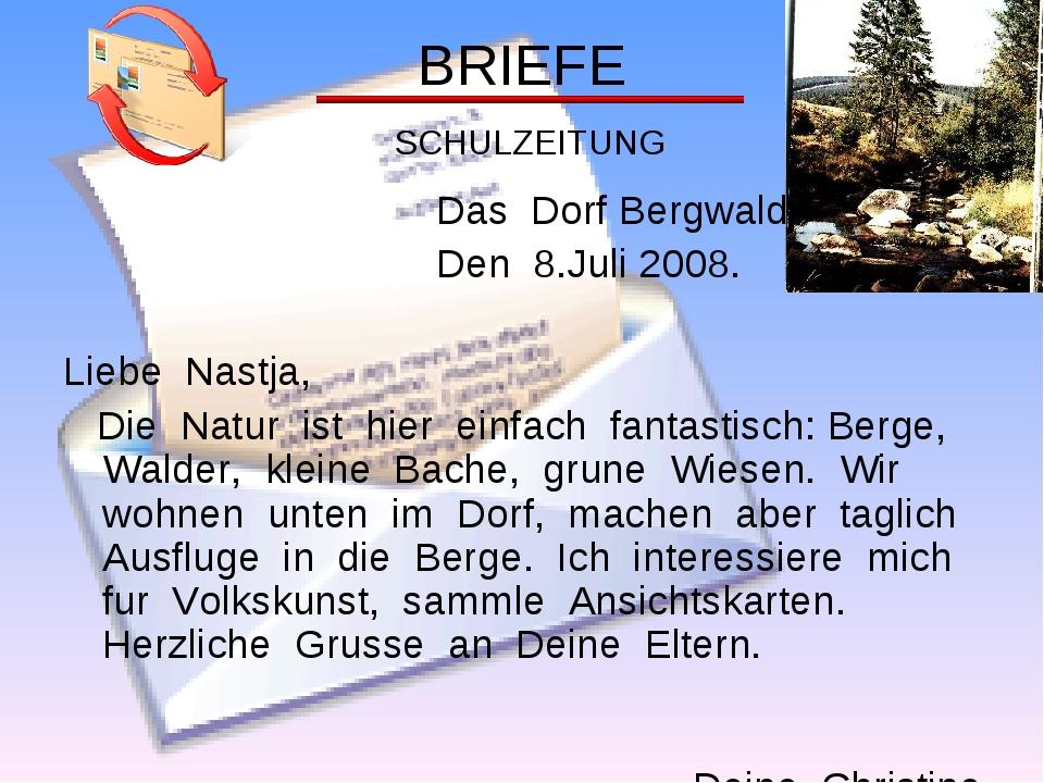 BRIEFE SCHULZEITUNG Das Dorf Bergwald Den 8.Juli 2008. Liebe Nastja, Die Natu...