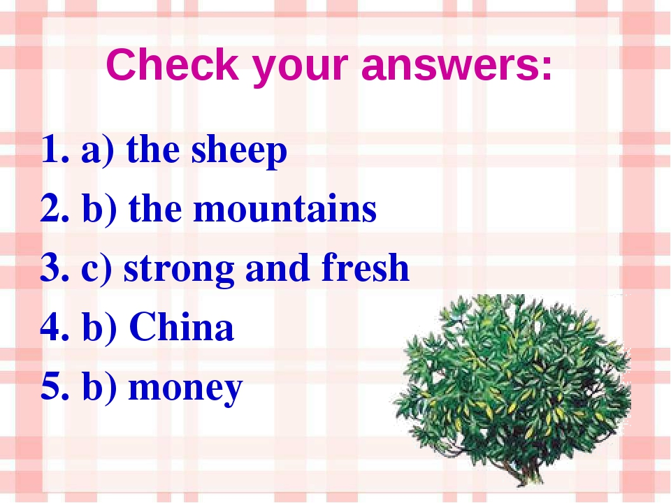 Check your answers: 1. a) the sheep 2. b) the mountains 3. c) strong and fres...