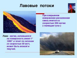 Лава - магма, излившаяся на поверхность имеет t° 1000° и течет по склонам со