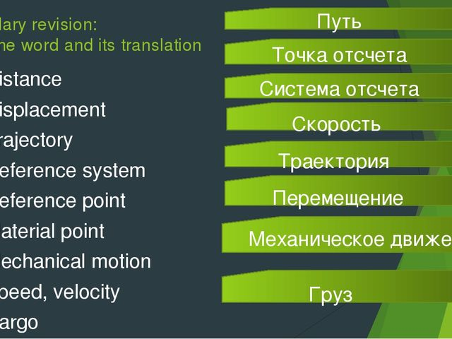 Vocabulary revision: match the word and its translation Distance Displacement...