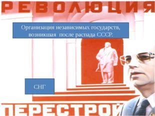 Организация независимых государств, возникшая после распада СССР. СНГ