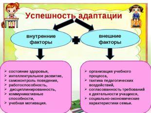 Успешность адаптации внутренние факторы внешние факторы состояние здоровья, и