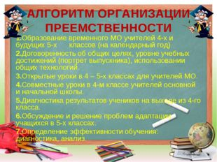АЛГОРИТМ ОРГАНИЗАЦИИ ПРЕЕМСТВЕННОСТИ 1.Образование временного МО учителей 4-х
