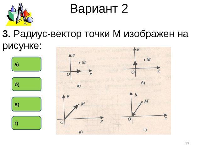 Вариант 2 в) а) г) * 3. Радиус-вектор точки М изображен на рисунке: б)