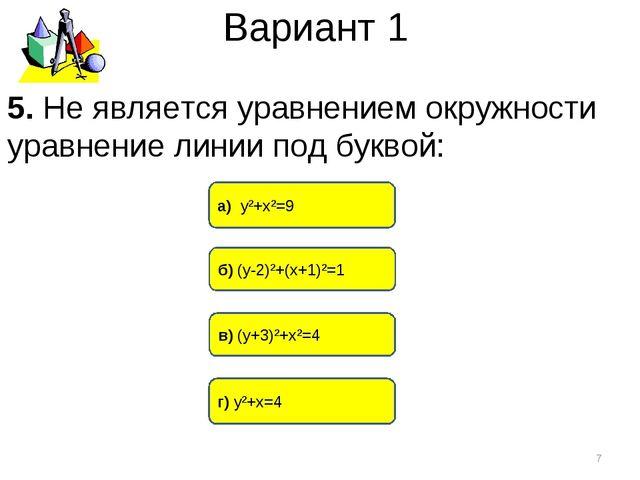 Вариант 1 г) у²+х=4 а) у²+х²=9 в) (у+3)²+х²=4 * 5. Не является уравнением окр...