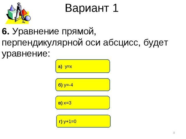 Вариант 1 в) х=3 а) у=х г) у+1=0 * 6. Уравнение прямой, перпендикулярной оси...