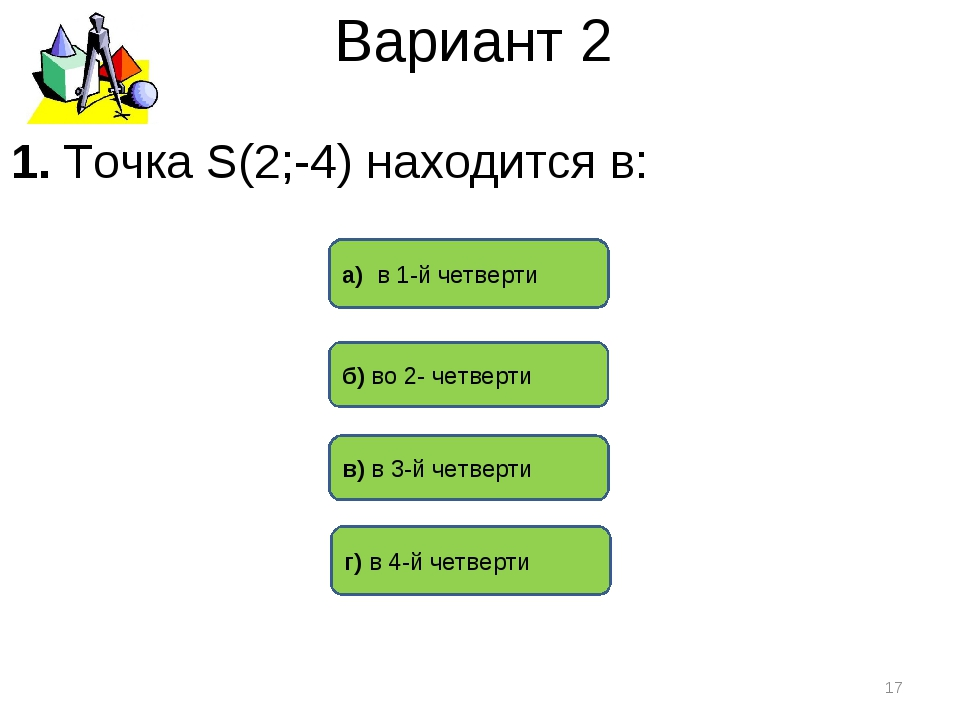 Вариант 2 г) в 4-й четверти а) в 1-й четверти в) в 3-й четверти * 1. Точка S(...