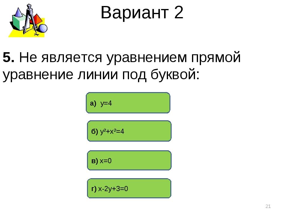 Вариант 2 б) у²+х²=4 а) у=4 г) х-2у+3=0 * 5. Не является уравнением прямой ур...