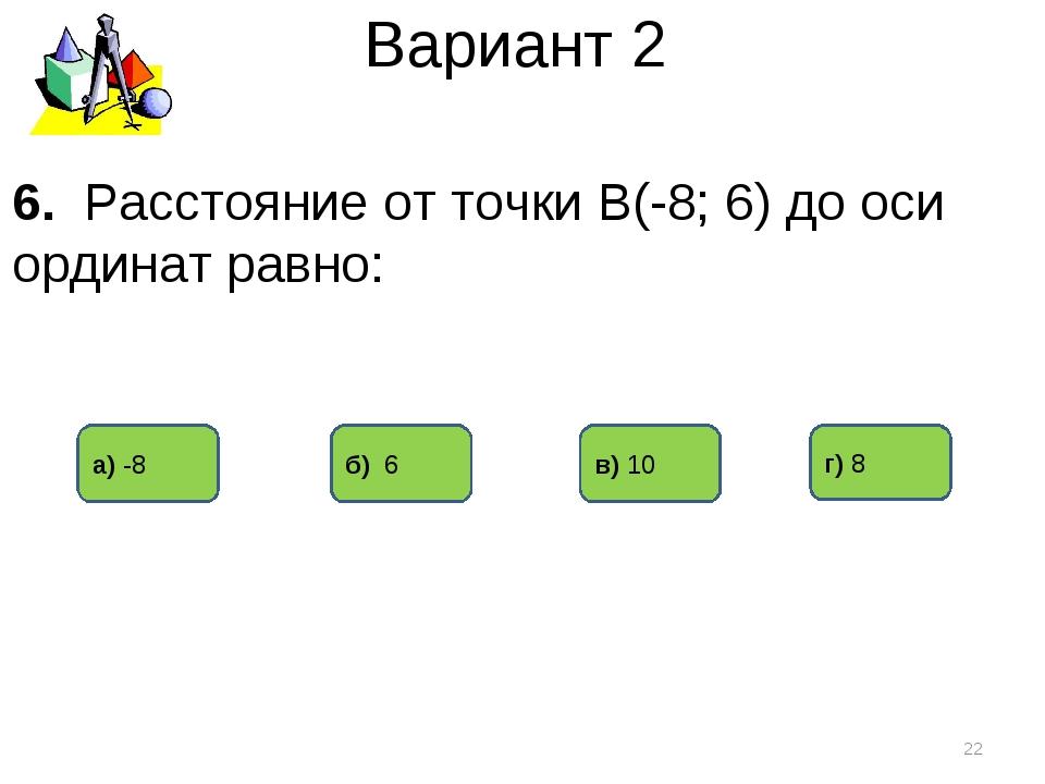 Вариант 2 г) 8 а) -8 б) 6 * 6. Расстояние от точки В(-8; 6) до оси ординат ра...