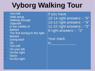 Vyborg Walking Tour Turn left Walk along Walking through Opposite In the midd