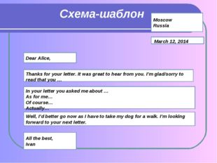 Схема-шаблон Moscow Russia March 12, 2014 Dear Alice, Thanks for your letter.