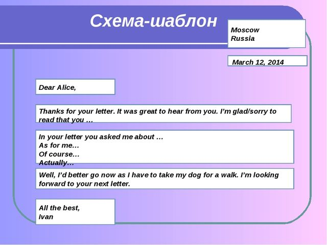 Схема-шаблон Moscow Russia March 12, 2014 Dear Alice, Thanks for your letter....