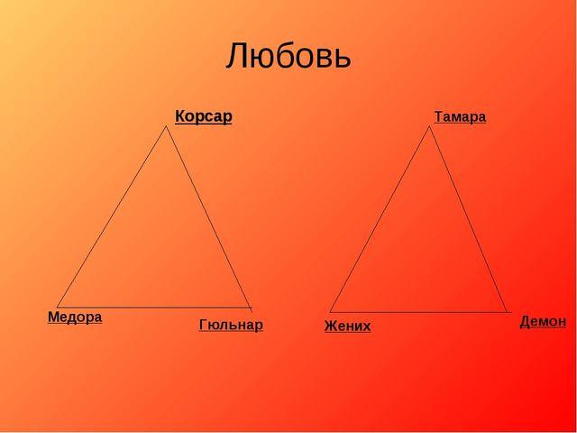 Любовь Корсар Медора Гюльнар Тамара Жених Демон