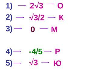 1) 2) 3) 4) 5) 23 3/2 0 -4/5 3 О К М Р Ю