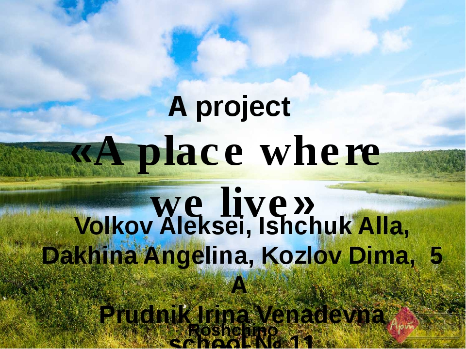 A project «A place where we live» Roshchino 2016 Volkov Aleksei, Ishchuk All...
