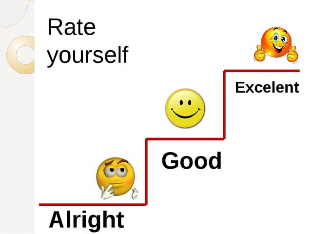 Exсelent Good Alright Rate yourself