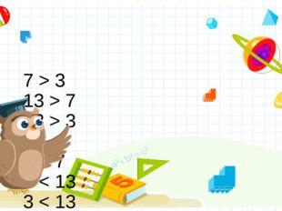 7 > 3 13 > 7 13 > 3  3 < 7 7 < 13 3 < 13 Правильный ответ Неправильный ответ