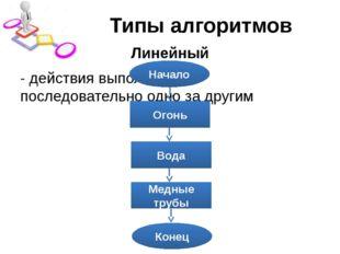 Типы алгоритмов Линейный - действия выполняются последовательно одно за други