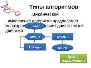 Типы алгоритмов Циклический - выполнение алгоритма предполагает многократное