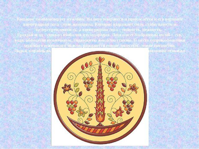 Кипарис символизирует мужчину. На него опирается и прикасается к его вершине...