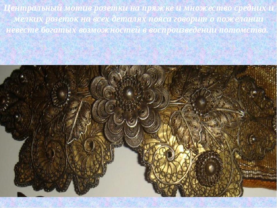 Центральный мотив розетки на пряжке и множество средних и мелких розеток на в...