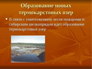 Образование новых термокарстовых озер В связи с уничтожением лесов пожарами и