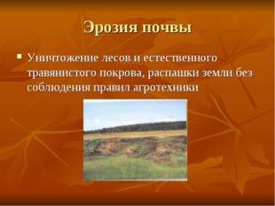 Эрозия почвы Уничтожение лесов и естественного травянистого покрова, распашки