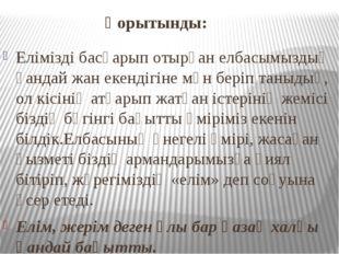Қорытынды: Елімізді басқарып отырған елбасымыздың қандай жан екендігіне мән