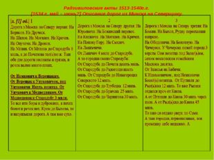 Радзивиловские акты 1513-1540г.г. [1534 г. май – июнь?] Описание дорог из Мин