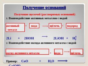 Получение щелочей (растворимых оснований) Взаимодействие активных металлов с