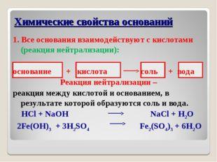 1. Все основания взаимодействуют с кислотами (реакция нейтрализации): основа