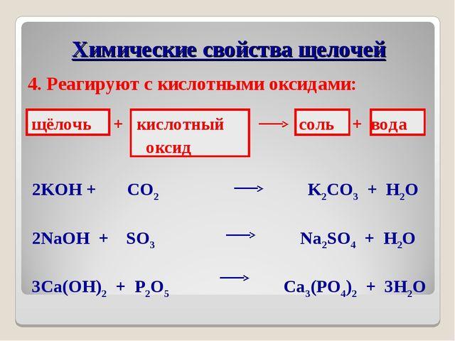 4. Реагируют с кислотными оксидами: щёлочь + кислотный соль + вода оксид 2KOH...