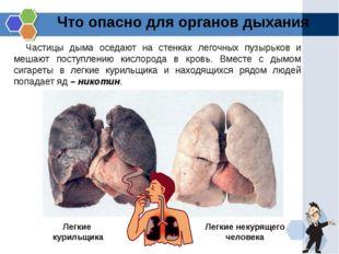 Что опасно для органов дыхания Частицы дыма оседают на стенках легочных пузыр