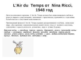 L'Air du Temps от Nina Ricci, 1948 год Дитя послевоенного времени, L'Air