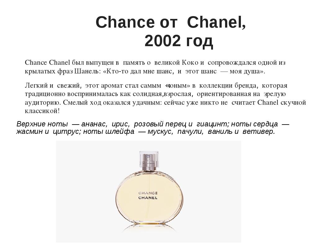 Chance от Chanel, 2002 год Chance Chanel был выпущен в память о великой К...