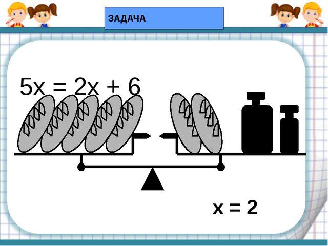 5х = 2х + 6 5 кг 1 кг ЗАДАЧА х = 2