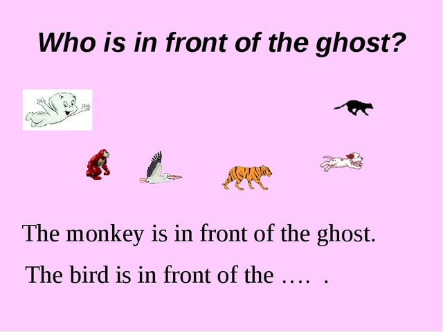 Who is in front of the ghost? The monkey is in front of the ghost. The bird i...
