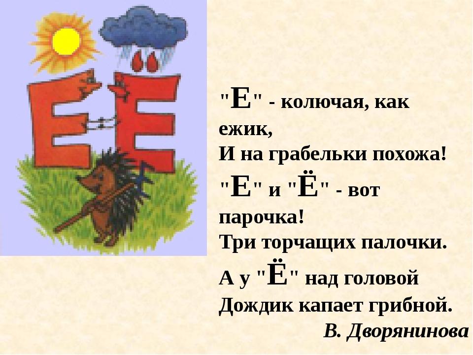 """""""Е"""" - колючая, как ежик, И на грабельки похожа! """"Е"""" и """"Ё"""" - вот парочка! Три..."""
