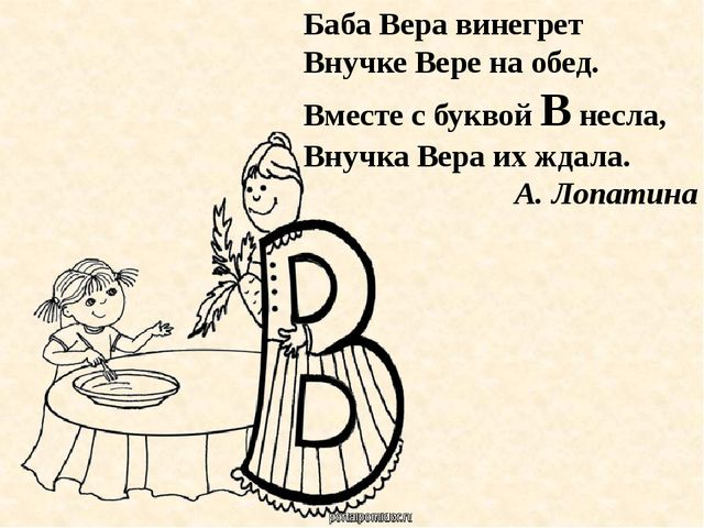 Баба Вера винегрет Внучке Вере на обед. Вместе с буквой В несла, Внучка Вера...