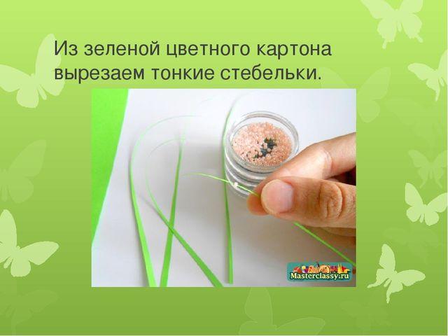 Из зеленой цветного картона вырезаем тонкие стебельки.