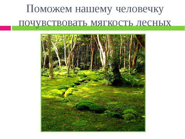 Поможем нашему человечку почувствовать мягкость лесных мхов