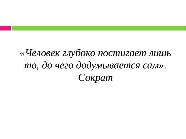 «Человек глубоко постигает лишь то, до чего додумывается сам». Сократ