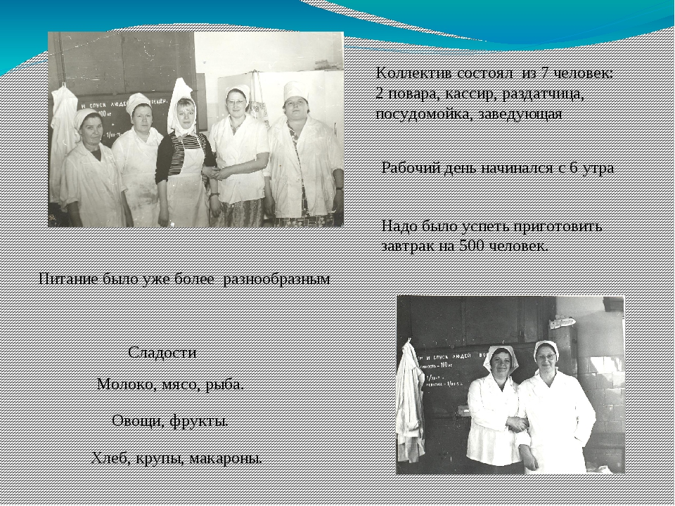 Коллектив состоял из 7 человек: 2 повара, кассир, раздатчица, посудомойка, за...