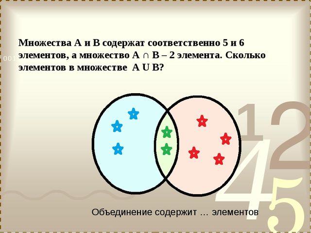 Множества А и В содержат соответственно 5 и 6 элементов, а множество А ∩ В –...